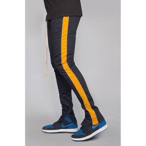 Other - Striped Twill Track Pants with Piping (Navy/Orange